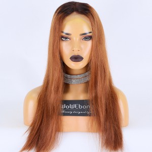 Clearance Sale:WoWEbony Indian Remy Hair 18inches 150% Density Yaki Straight Ombre Color Meidum Size Full Lace Wigs [C37]