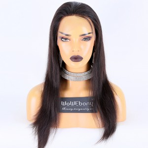 Clearance Sale:WoWEbony Peruvian Virgin Hair 16inches 130% Density Natural Straight Natural Color Meidum Size Full Lace Wigs [C38]
