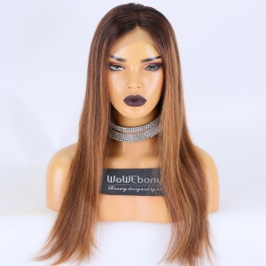Clearance Sale:WoWEbony Indian Remy Hair 20inches 150% Density Straight Ombre Color Medium Size Full Lace Wigs [C42]