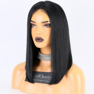 Same Day Shipping WowEbony Indian Remy Hair 16 Inches 150% Density Yaki Straight Bob Style Lace Front Wigs  [Jasmay]