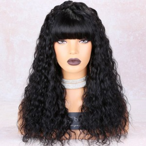 WowEbony Full Bangs Loose Curl Glueless Silk Top Non-Lace Wig Indian Remy Hair [STNLW09]