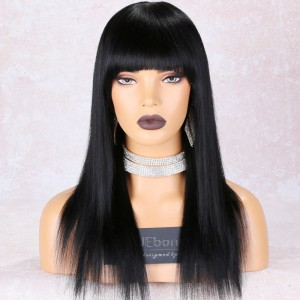 WowEbony Full Bangs Yaki Straight Glueless Non-Lace Wig Indian Remy Hair, 150% Hair Density, Medium Cap Size, Color #1,  Removable Elastic Band [ANLW01]