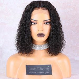 WowEbony Shoulder Length Natural Wave Bob Wigs 4.5 Inches Deep Middle Part Lace Front Wigs Indian Remy Hair Bob Wig [NEW12]