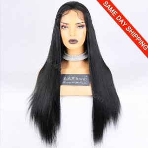 "Same Day Shipping Clearance Sale Indian Remy Hair #1 Color 130% L-size Light Yaki 24"" Full Lace Wigs [CFW04]"