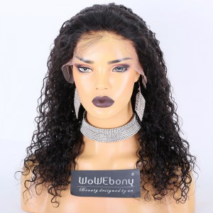 Clearance Sale:WoWEbony Indian Remy Hair 18inches 150% Density Curly Style  Natural Color Medium Size Lace Frontal Wigs [CLFW02]