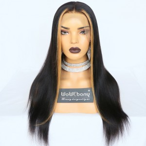 WowEbony Indian Remy Hair Hightlighted Fringe Yaki Straight 360 Lace Wigs [Tina]