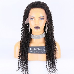 Clearance Sale:WoWEbony Indian Remy Hair 24inches 150% Density Curly Style Natural Color Medium Size13x4 Lace Front Wigs [CLFW08]