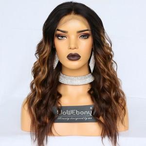 WoWEbony Human Hair Balayage Highlight Brown/Camel Color Hair Wavy Lace Front Wig [Kayla]