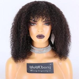 WoWEbony Indian Remy Hair Full Bangs 3C Texture Hair Glueless 2 x 4 Silk Top Closure Wig [Bangs08]