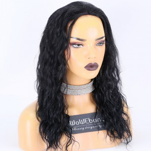Clearance Sale:WoWEbony Indian Remy Hair 18inches 130% Density wave  #1 Color Medium Size Glueless Lace Full Lace Wig [C47]