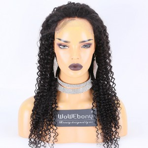 Clearance Sale:WoWEbony Indian Remy Hair 24inches 150% Density Curly Style Natural Color Medium Size 5X5 HD Lace Closure Wigs [CLFW13]