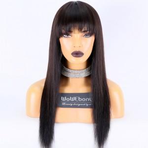 WoWEbony Indian Remy Hair Full Bangs Yaki Straight Hair Glueless 3.5 x 3 Silk Top Closure Wig [Bangs09]