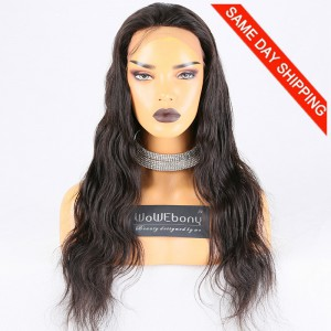 Same Day Shipping Clearance Sale 22 inches Natural Color 130% Density Medium cap size Brazilian Virgin Hair Body Wave Lace Front Wig