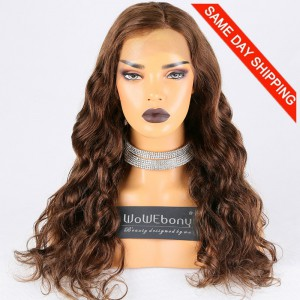 Same Day Shipping Clearance Sale 22 inches #4 Color 150% Density Small cap size Indian Remy Hair Wavy Glueless Full Lace Wig [TH14]