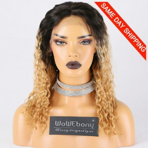 Same Day Shipping Clearance Sale 14 inches T#NC/27A Color 130% Density medium cap size Peruvian Virgin Hair Curly Lace Front Wig