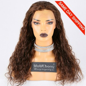 Same Day Shipping Clearance Sale 20 inches #4 Color 130% Density Small cap size Indian Remy Hair Natural Wave 4*4 Silk Top Full Lace Wig