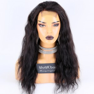 Clearance Sale:WoWEbony Indian Remy Hair 18inches 150% Density Natural Wave Style Natural Color Medium Size 3.5x4 Lace Closure Wigs [CLFW17]