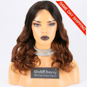 Same Day Shipping Clearance Sale 16 inches T#NC/30 Color 180% Density Medium cap size Peruvian Virgin Hair Body Wave Lace Front Wig