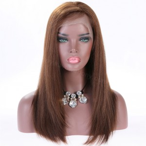 Full Lace Wigs #4/#30 Highlight Color Indian Remy Hair Yaki Straight Wig [SFW02]