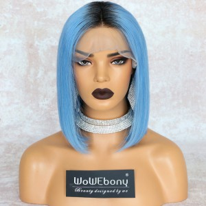 WowEbony Blue Hair Dark Root Bob Cut Lace Front Wigs, Indian Remy Hair, Silk Straight, 150% Density[IR4.5DPOM5]