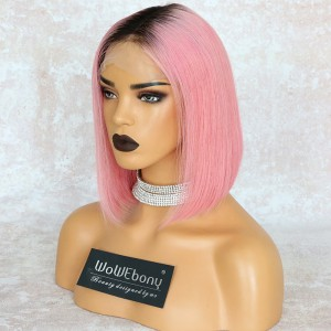 WowEbony Pink Hair Dark Root Bob Cut Lace Front Wigs, Indian Remy Hair, Silk Straight, 150% Density[IR4.5DPOM3]