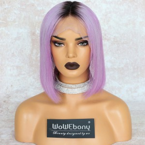 WowEbony Lavender Hair Dark Root Bob Cut Lace Front Wigs, Indian Remy Hair, Silk Straight, 150% Density[IR4.5DPOM4]