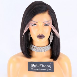 WowEbony Natural Color 150% Density Indian Remy Hair Italian Yaki Straight Lace Front Wigs[Mirika]
