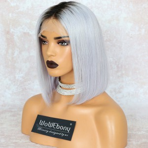 WowEbony Indian Remy Hair Silver Straight Bob Cut Lace Front Wigs[Silver-bob]