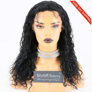 Same Day Shipping Clearance Sale 16 inches #1 Color 130% Density Medium cap size Indian Remy Hair Curly Lace Front Wig