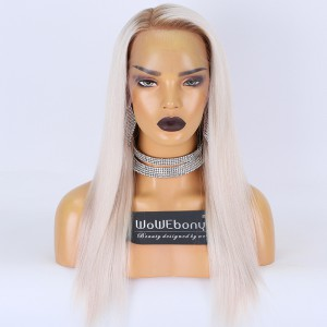 Customized Luxury WowEbony Virgin Human Hair Straight Ash White Blonde Invisiable HD Lace Front Wig{need 30-50 processing days} [AshWhite]