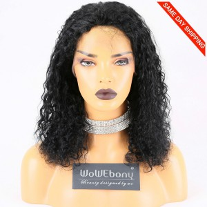 Same Day Shipping Clearance Sale 14 inches #1 Color 130% Density Medium cap size Indian Remy Hair Curly Full Lace Wig