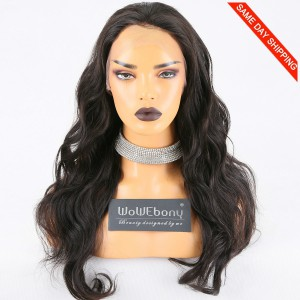 Same Day Shipping Clearance Sale 20 inches Natural Color 150% Density Large cap size Brazilian Virgin Hair Wavy Full Lace Wig