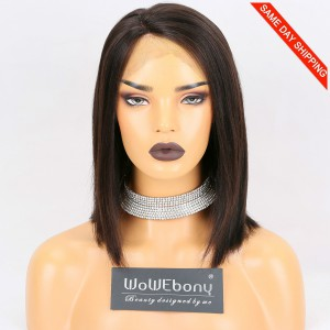 Same Day Shipping Clearance Sale 10 inches Natural Color 130% Density Medium cap size Indian Remy Hair Yaki Straight Full Lace Wig