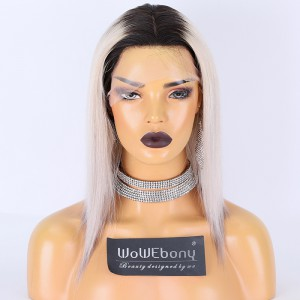 Clearance Sale:WoWEbony Brazilian Virgin Hair 12inches 150% Density Straight Natural Color Root  Silver Gray Ombre Color Medium Size Transparent Lace 4x4 Silk Top Full Lace Wig [C51]