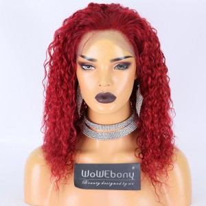 Clearance Sale:WoWEbony Indian Remy Hair 14inches 150% Density Kinky Curly Red Color Medium Size Light Brown Lace 4x4 Silk Top Full Lace Wig [C57]
