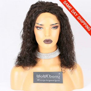 Same Day Shipping Clearance Sale 10 inches Natural Color 130% Density Medium cap size Indian Remy Hair Curly 4*4 Silk Top Full Lace Wig