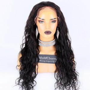 Same Day Shipping:WoWEbony Indian Remy Hair 24inches 180% Density Loose Curls Texture Natural Color M Size 13x6 Lace Front Wigs [CLFW31]