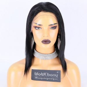 Clearance Sale:WoWEbony Indian Remy Hair 10inches 130% Density Light Yaki straight Texture  #1 Color Small Capsize  Size Light Brown Lace Cap-13 Full Lace Wig [C61]