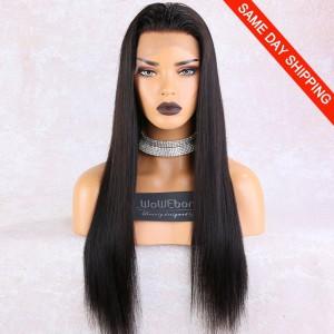 WowEbony Lace Front Wigs Indian Remy Human Hair Yaki Straight, Pre-Plucked Hairline, Pre-Bleached Knots, Pre-Added Elastic Band, 22 Inches, Natural Color [LFW091]