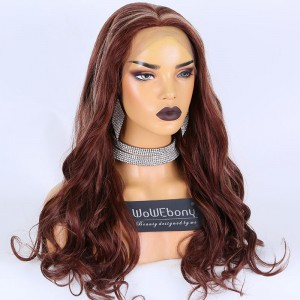 Clearance Sale: WoWEbony Peruvian Virgin Hair 22inches 180% Density Wavy Style Red/blonde Highlight Color #33/27Large or Medium Size Full Lace Wigs [E01]