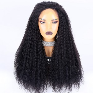 Clearance Sale: WoWEbony Brazilian Virgin Hair 24inches 150% Density Curly Style  #1B Color Medium Size Full Lace Wigs [E05]