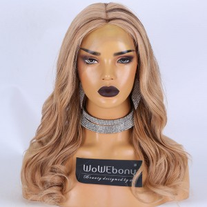Clearance Sale: WoWEbony Peruvian Virgin Hair 16inches 150% Density Wavy Style Blonde/brown Highlight Color #27/4 Medium Size HD Lace Full Lace Wigs [E07]