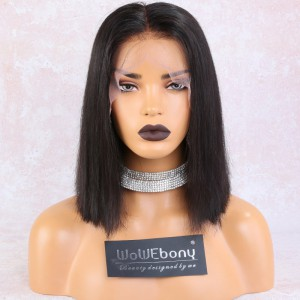 WowEbony 6 inches Deep Part Silky Straight Pre-plucked Lace Front Wigs Indian Remy Hair, 150% Density, Natural Color, 12 Inches Bob Wigs, Pre-Bleached Knots, Medium Cap Size [DLFWBOB01]