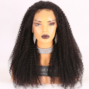 Same Day Shipping Clearance Sale 22inches #1b Color 180% Density Medium cap size Brazilian Virgin Hair Kinky Curl 360 Lace Wig [TH46]