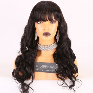 Same Day Shipping Clearance Sale 22inches #1B Color 180% Density Medium cap size Indian Remy Hair Wavy Silk Top Full Lace Wig [TH49]