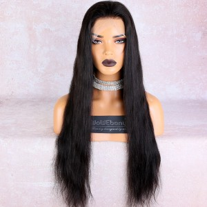 WowEbony Pre-Plucked Hairline Glueless Transparent Full Lace Wigs Indian Remy Hair Light Natural Straight [FLW58]