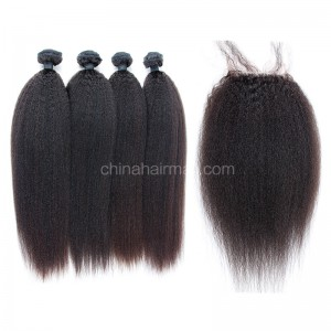 Malaysian virgin unprocessed natural color human hair wefts and 4*4 Lace Closure Kinky Straight 4+1 pieces a lot Hair Bundles 95g/pc [MVKS4+1]