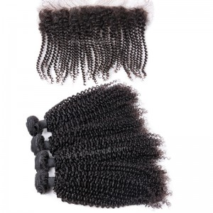 Brazilian virgin unprocessed human hair wefts and 13*4 Lace Frontal Afro Kinky Curly 4+1 pieces a lot Hair Bundles 95g/pc [BVAKCLF4+1]
