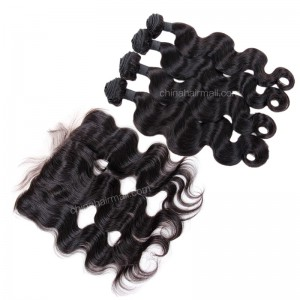Brazilian virgin unprocessed human hair wefts and 13*4 Lace Frontal Body Wave 4+1 pieces a lot Hair Bundles 95g/pc [BVBWLF4+1]