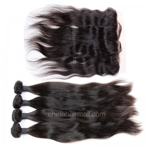 Brazilian virgin unprocessed human hair wefts and 13*4 Lace Frontal Natural Straight 4+1 pieces a lot Hair Bundles 95g/pc [BVNSLF4+1]